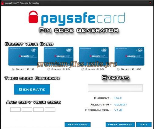 paysafecard code generator 2012 3.2v